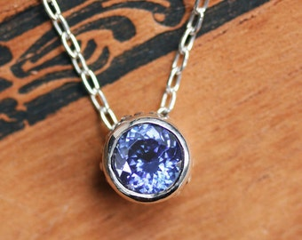 Tanzanite necklace, tanzanite pendant, anniversary gift for wife, sterling silver, bezel necklace, oxidized silver necklace, wrought custom