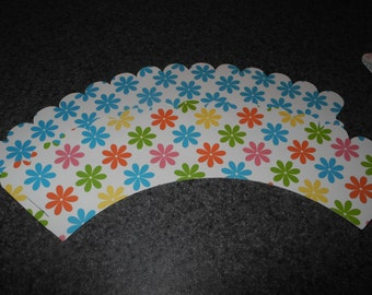 Bright  Flowers Cupcake Wrapper  Set of 12  Flowers
