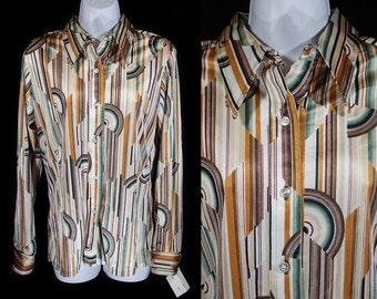 Vintage 70's Deadstock UNZARRA Disco Shirt Blouse Size 15