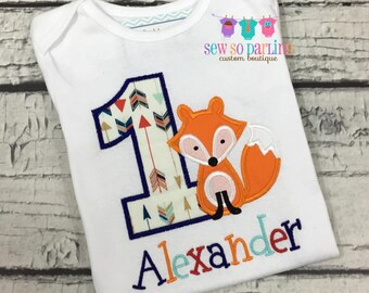 1st Birthday Fox Shirt - Woodland Birthday Shirt - Baby Boy Fox Birthday Outfit -  Tribal first Birthday shirt - Tribal Fox Birthday Shirt