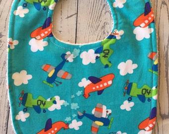 Baby bibs-Airplanes/plane bib-blue-drool bib-terrycloth backing-plastic Kam snap closure-baby gift-absorbent bib-dribble bib
