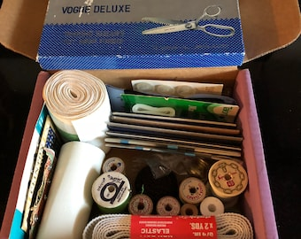 Sewing Notions / Lot vintage sewing supplies / Threads / Elastics / Seam Bindings / Snaps Hooks / Pinking Shears and More