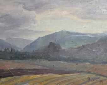 Antique oil painting impressionist landscape