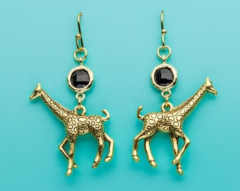 Giraffe Earrings, Gold Giraffe Earrings, Animal Charm Earrings, Black Crystal Earrings, Giraffe Gift, Dangle Earrings, Gifts for Her, 470