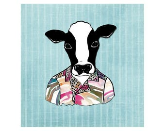 Hipster Cow Throw Pillow