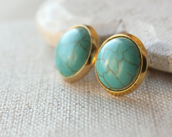 Turquoise Gold Stud Earrings, choose STUD or CLIP, Turquoise Jewelry 12mm cabochon Turquoise posts E451