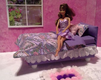 barbie bed, pompom, plush rug, bedding set, barbie furniture, doll bed, barbie accessories, handmade furniture, collectible