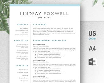 Professional Resume Template, CV, Curriculum Vitae, Template Design, Instant Download For Word, Two-Page Resume, Blue, Lindsay