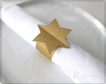 Gold Jewish Star Table Decor, Paper Napkin Rings, Bar Mitzvah Decor, Magen David, Jewish Holiday Hanukah Decor, Set of 10, Glitter GOLD MD43