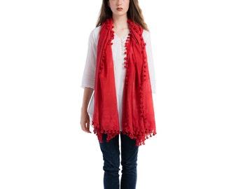 Silk & cotton handmade pom pom red scarf