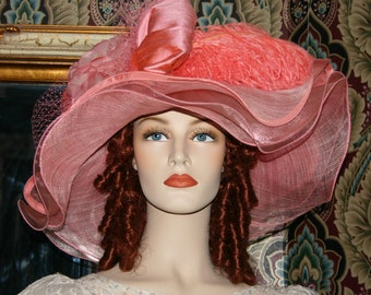 Kentucky Derby Hat, Kentucky Oaks, Royal Ascot Hat, Edwardian Hat, Downton Abbey Hat - Coral Sea