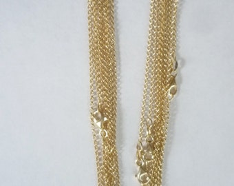 24 inches, 30 inches  Gold vermeil rolo link necklace chain, finished chain. (Gold plated over sterling silver)