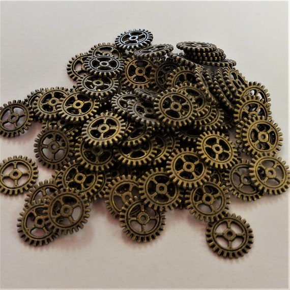 "CLEARANCE 100 pcs 12mm Steampunk Clock Gears Cogs Charms Metal Bike Steampunk Jewelry Bronze Metal Watch Gears 1/2"" Diameter Bicycle Gears"