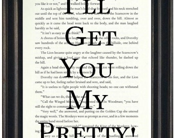 I'll Get You My Pretty Book Page Print Wizard of Oz Art Print