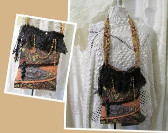 SALE Bohemian Gypsy Purse, handmade bohemian bag, tapestry fabric, beads black lace SMALL