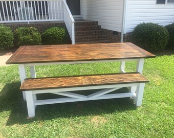 Farmhouse Style Dining Table and Bench