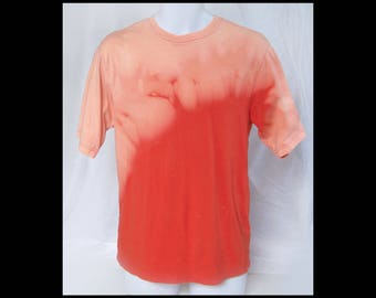 Acid washed small shirt Falls Creek tee bleached NOT tie dye orange solar flare sunburst fire volcano eruption flame t-shirt (shirt no.126)
