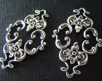 2PC vintage sterling silver plated brass highly detailed floral filigree connectors/links--16