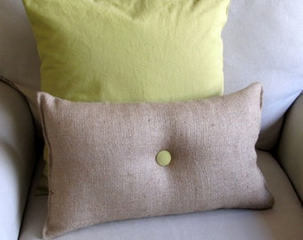 lumbar style 11x19 Burlap Pillow with granny smith green organic cotton duck button front and back