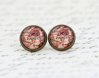 Mother Gift - Paris Map Stud Earrings in Antique Brass Plated Settings