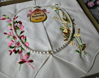 Vintage. Hankies. with vintage necklace in box. Two pairs of handmade earrings. Hankerchiefs.