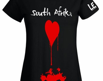 Womens African tshirt. South Africa rhino map tee in black with red bleeding heart. Rhinoceros t shirt for girls or women. Animal lover gift