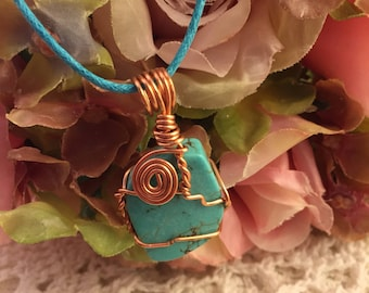 Wire wrapped authentic Turquoise necklace