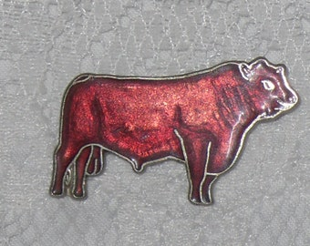 Bull Cow Lapel Pin Enamel Western Cowboy Vintage