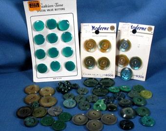 Vintage Green Plastic Buttons Lot