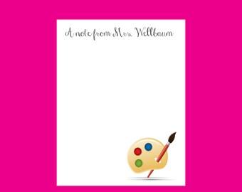 Art teacher Notepad, Personalized Notepad, Teacher gift, stocking stuffer