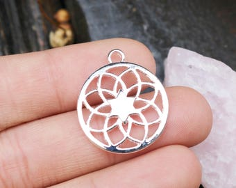 set of 5, mandala charms, bright silver, pewter charms, 20mm x 20mm, flower of life, circle mandala, yoga charms,
