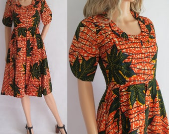 Summer African print dress, orange leaf patterned, cotton, knee length, short sleeves, hippie boho summer 50s style dress, small