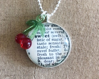 Sweet Necklace, Vintage Dictionary Definition Pendant, Vintage Style Cherry Pinup Necklace, Sweet Cherries Necklace