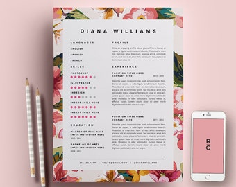 resume template 3 page pack cv template cover letter for ms word instant - Fashion Design Resume Template
