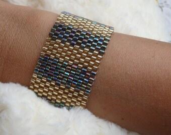 PEYOTE BRACELET, Beaded Bracelet, Gold Green Bracelet, Handmade Jewelry, Seed Bead Bracelet, Unique Gift For Woman, Elegant Bridal Bracelet