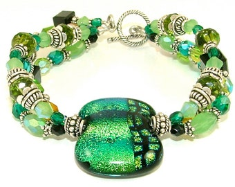 "MAJOR CLEARANCE - Lively ""Hues of Green"" Triple Stranded Beaded Dichroic Fused Glass Statement Bracelet-OOAK"