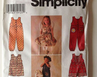 Simplicity 7213 UNCUT Childs Dress, Jumper and Overalls size 2-4 Vintage 1996