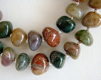 Pebbles Necklace, Fancy Jasper Necklace, Green Jasper Silver Bead Necklace, Chunky Jasper Necklace, Natural Jewelry, Boho Necklace