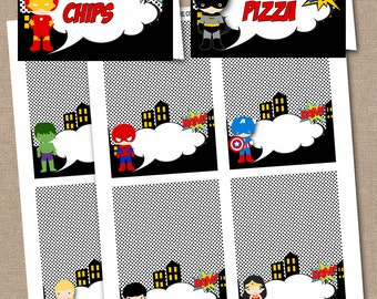 INSTANT DOWNLOAD Superhero Food Labels Buffet Tent Cards Place Superheroes 633