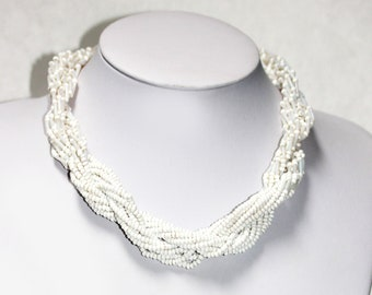 Beautiful Vintage White Glass Seed Bead Necklace TWISTED MULTI STRAND