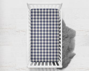 Fitted Crib Sheet Buffalo Check in Navy. Navy Crib Sheet. Buffalo Check Baby Bedding. Minky Crib Sheet. Plaid Crib Sheet. Crib Sheet.