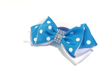 Hair bow 5 inch large for girls with elastic tie or alligator clip
