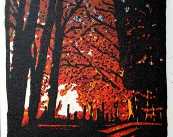 Autumn Morning, Delamere - reduction linocut print