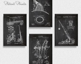 Firefighter Patents Set of 4 Prints, Firefighter Prints, Firefighter Posters, Firefighter Blueprints, Firefighter Art,  Firefighter