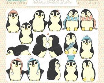 Cute Penguins Clip Art Set - Personal & Commercial Use
