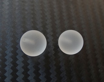 Frosted Matte Crystal Half Top Drilled Rounds 10 mm Smooth Balls One Pair K7140 F3620