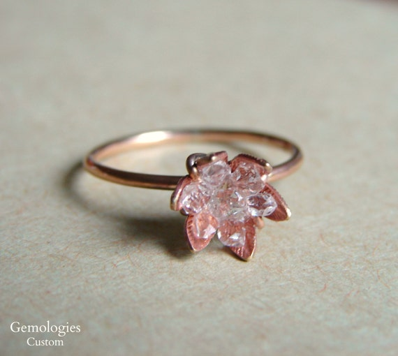 Raw herkimer diamond ring on rose gold band raw crystal ring junglespirit Images