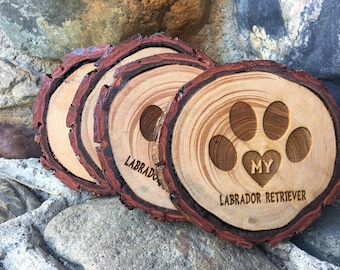 LABRADOR WOOD COASTERS  laser engraved