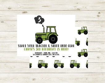 TRACTOR | Shift Into Gear Tractor Birthday Invitation | Tractor Birthday Invitation | Tractor Theme Birthday Invitation | Tractor Birthday