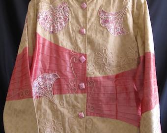 Plus Size Indigo Moon Oriental Jacket Size 1X Pink Tan Embroidered Vintage Wearable Art